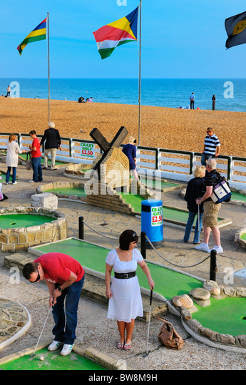 Crazy golf on Brighton seafront, East Sussex, UK - Stock Image
