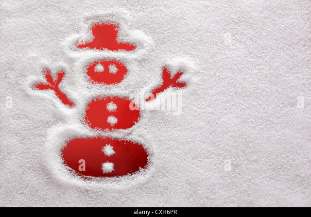 Snowman drawn in the snow - Stock Image