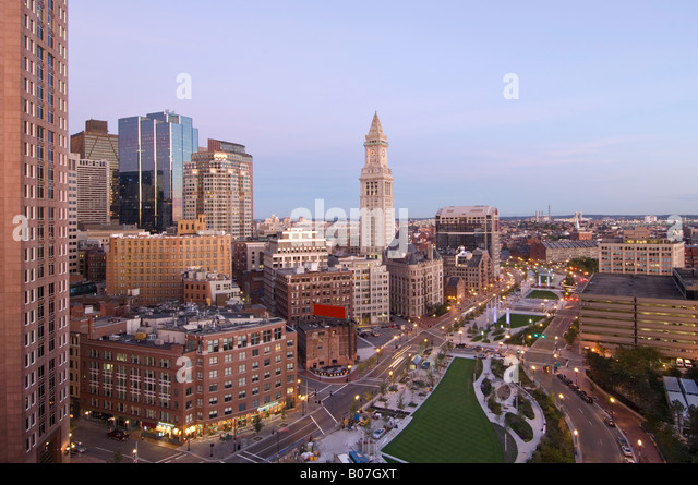 Atlantic Avenue & Customs House, Boston, Massachusetts, USA - Stock Image