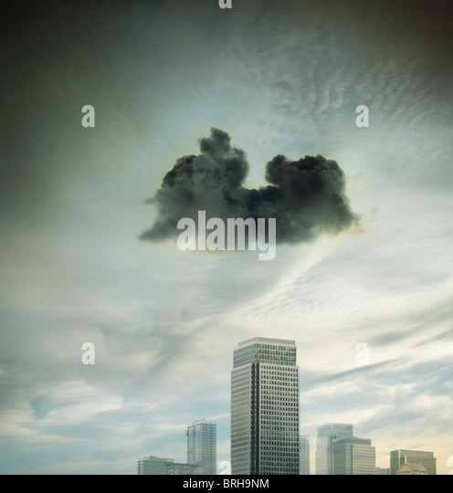 dark cloud over the city - Stock Image