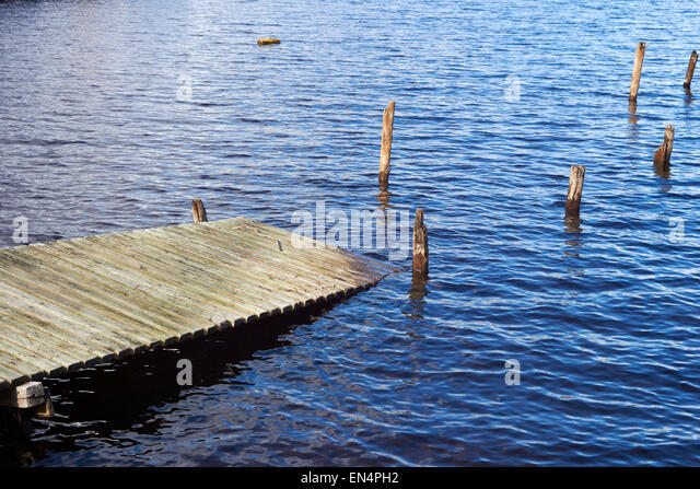 decayed wooden jetty, Finland - Stock Image