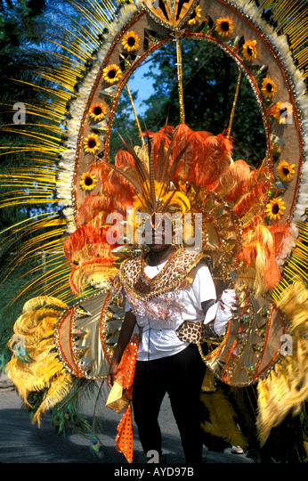 Caribbean carnival British Virgin Islands Emancipation Festival Woman Wearing Headdress - Stock Image