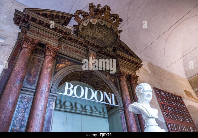Italy, Parma, Della Pilotta palace, the entry of an exhibition - Stock Image