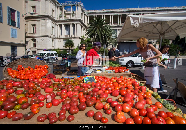 France Nice Cours de Saleya market stall with bio tomatoes - Stock Image