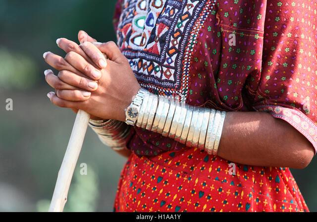 Fakirani jat tribe woman wearing traditional silver jewelry kutch