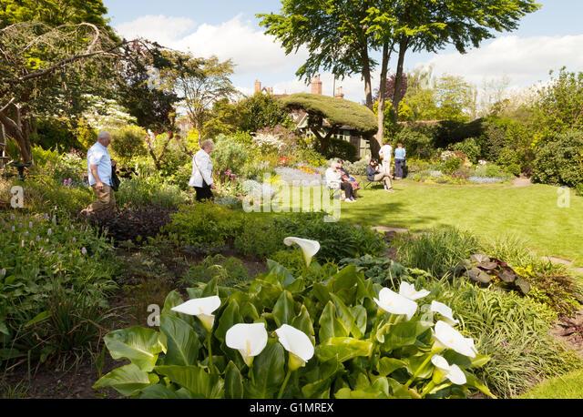 The Mill House garden, Mill Street, Warwick, Warwickshire England UK - Stock Image