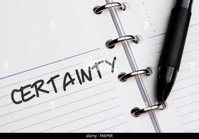 Certainty word written on paper. - Stock Image