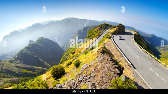 Alpine road from Encumeada Pass to plateau Paul da Serra, Madeira Island, Portugal - Stock Image