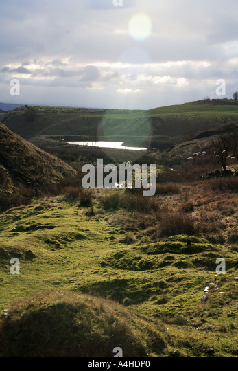 View from Cheesden Lumb Lower Mill down the Cheesden Valley to the lodge which fed Croston Close Upper Mill Cheesden - Stock Image