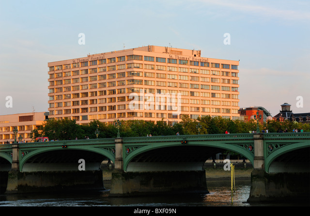 St Thomas Hospital London, viewed across Westminster Bridge - Stock Image
