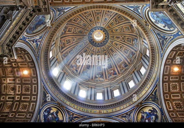 Interior of the Dome, St Peter's Basilica, Rome, Italy - Stock Image
