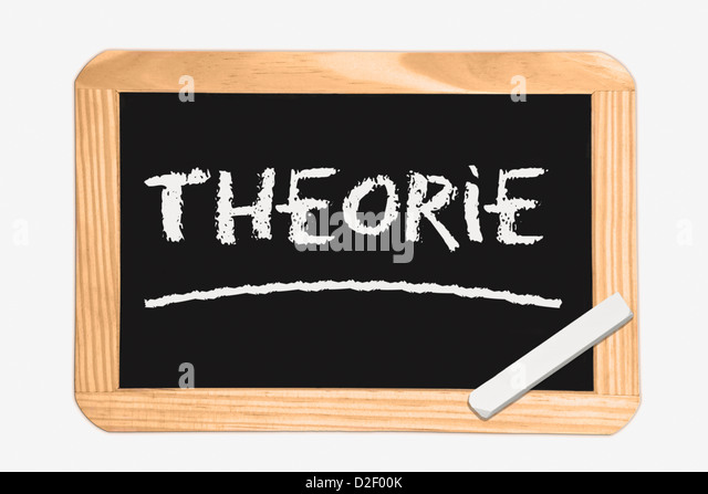 Detail photo of a Chalkboard with the German inscription theory, white chalk lies in a corner - Stock-Bilder