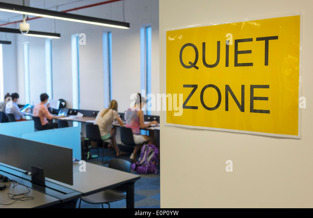 Sydney Australia NSW New South Wales University of Sydney education campus Fisher Library sign quiet zone student - Stock Image