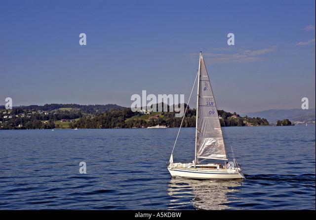 Lake Lucerne luzern Switzerland sailboat - Stock Image
