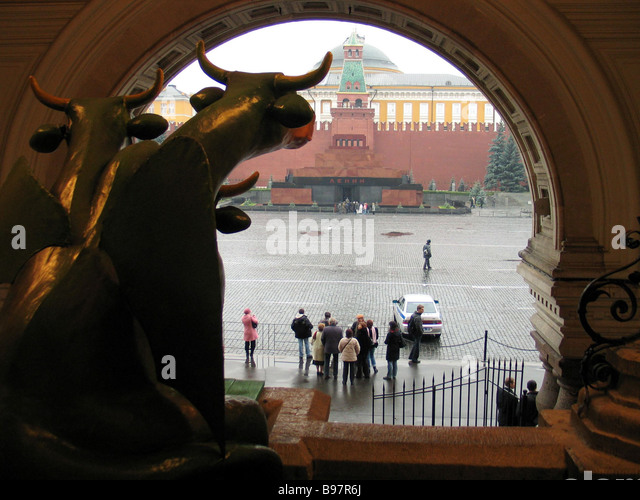 The International Charity Art Initiative Cow Parade Moscow Red Square - Stock Image