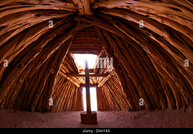 Interior of Navajo hogan, traditional dwelling and ceremonial structure, Monument Valley Navajo Tribal Park, Utah, - Stock Image