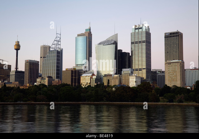View across Farm Cove to the Sydney city skyline at dawn. Sydney, New South Wales, AUSTRALIA - Stock Image