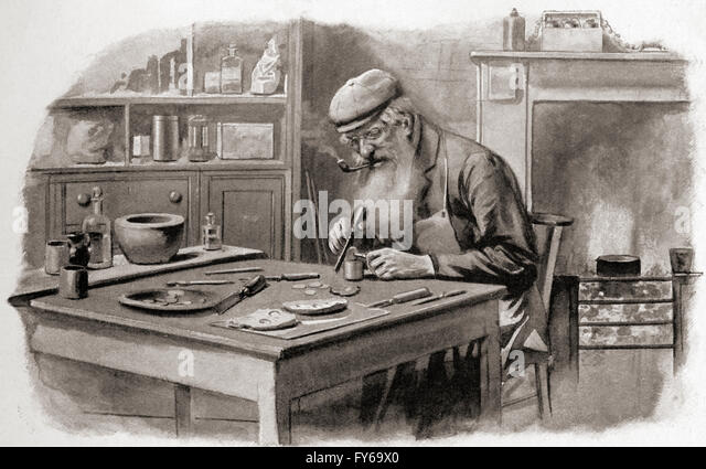 A coiner at work, London, early 20th century. - Stock Image
