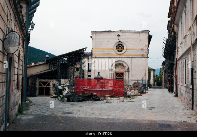 La Misericordia showing the destruction of the 2009 eathquake, Aquila, Abruzzi, Italy, Europe - Stock Image