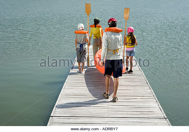 Family canoeing - Stock Image