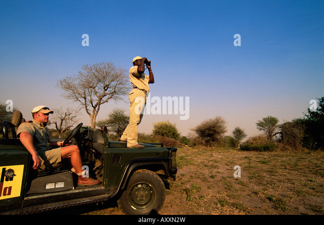 Looking out for wildlife, Mala Mala Game Reserve, Sabi Sand Park, South Africa, Africa - Stock-Bilder