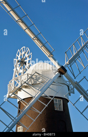 Old Stow windmill at Maudsley in Norfolk in South East England - Stock Image