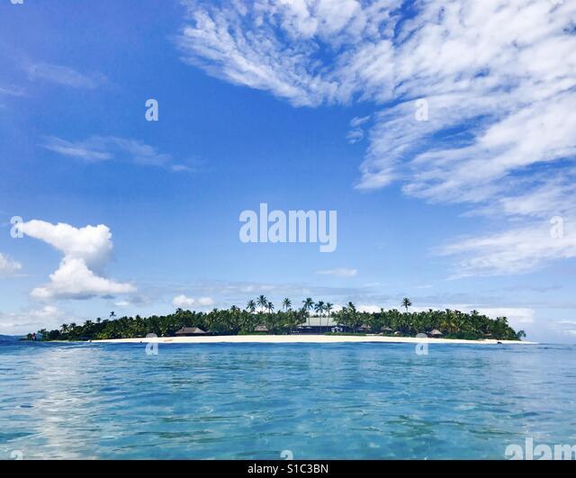 Tavarua island from the water. Tavarua, Fiji. - Stock Image