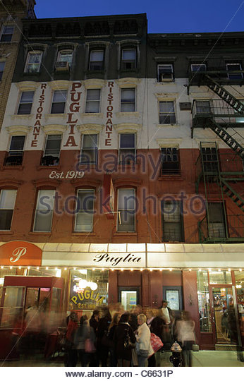 Lower Manhattan New York City NYC NY Little Italy ethnic neighborhood Hester Street Publia Ristorante Italian restaurant - Stock Image