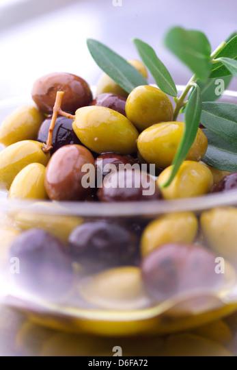 Bowl of Mixed Olives - Stock Image