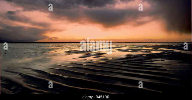 Landscape Ainsdale beach Merseyside on a stormy winters night. - Stock Image