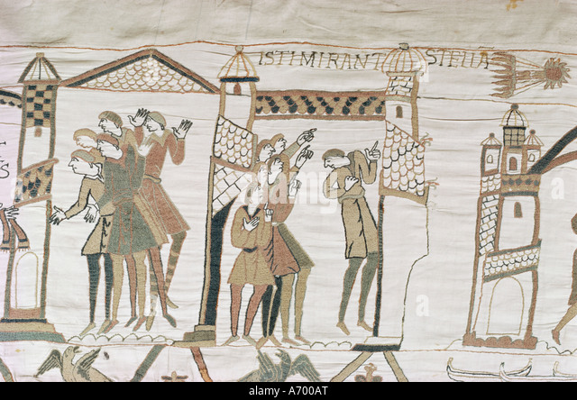 Crowds point to Halley s Comet February 1066 Bayeux Tapestry Normandy France Europe - Stock Image
