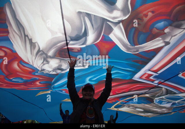 Saint-Petersburg,, Russia. 23th of May, 2015. SKA fans march during the honoring of the hockey club SKA players - Stock Image