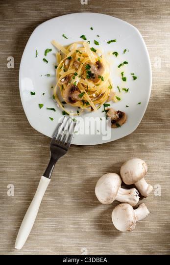 Tagliatelle with Mushrooms - Stock Image