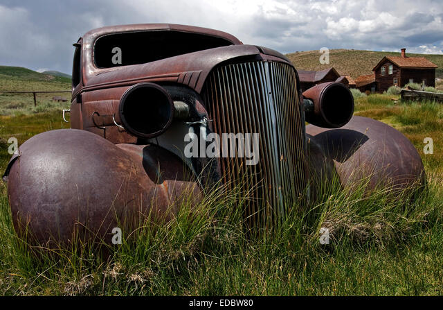 Rusted Chevrolet, 1930s, Ghost Town, old gold mining town, Bodie State Historic Park, Bodie, California, United - Stock Image