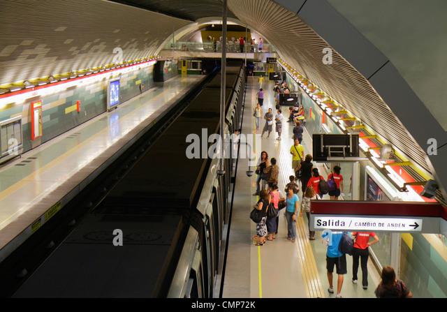 Santiago Chile Metro de Santiago subway Los Domincos station public transportation rapid transit interior platform - Stock Image