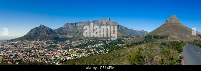 Panoramic view of Table Mountain, Lions Head, Signal Hill and the city bowl of Cape Town, South Africa - Stock Image