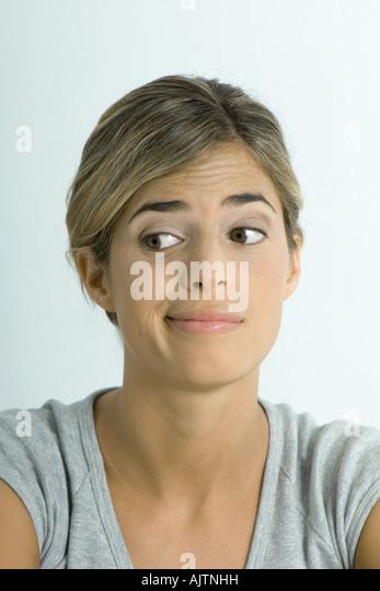 Woman making face, portrait - Stock Image