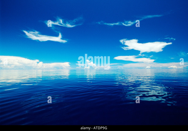 The vast blue of the open ocean Fiji Indo Pacific - Stock Image