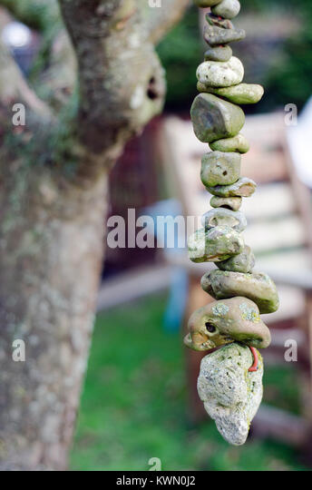 lucky stones hung up in apple tree in garden - Stock Image