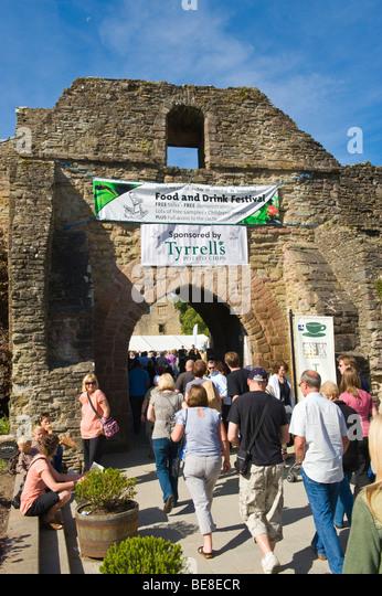 Entrance to castle at Ludlow Food Festival Shropshire England UK - Stock Image