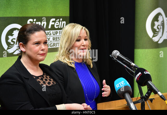 Armagh City, UK. 15th February 2017. Sinn Féin Party Manifesto launch with Irish TD Mary Lou McDonald and Leader - Stock Image