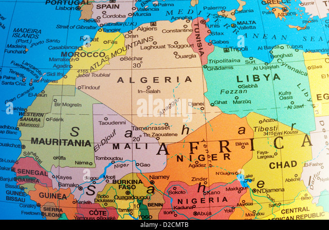 A map of North Africa showing Algeria and Mali countries on a globe - Stock Image