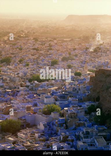 Jodhpur, Rajasthan, India; view over the Blue City from Mehrangarh Fort - Stock-Bilder