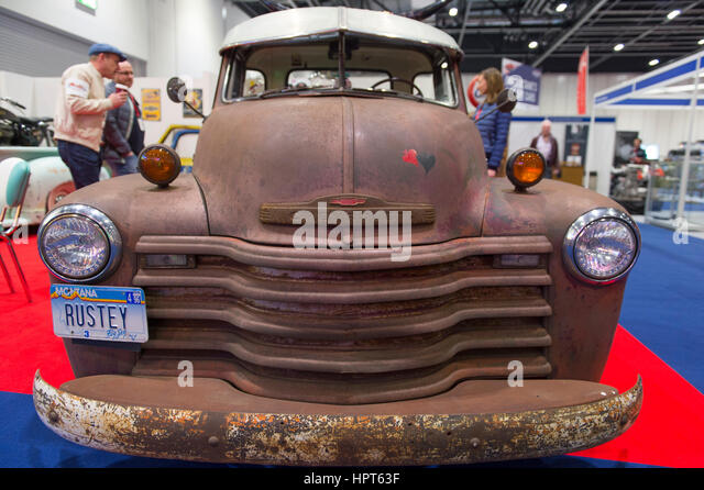 ExCel, London, UK. 23rd February, 2017. Opening day of the 2017 Classic Car Show with spectacular coupes, saloons - Stock Image