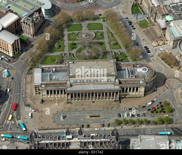 aerial view of St George's Hall and St John's Gardens, Liverpool city centre - Stock Image