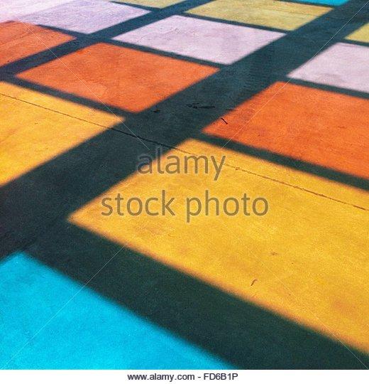 Full Frame Shot Of Colorful Flooring - Stock Image