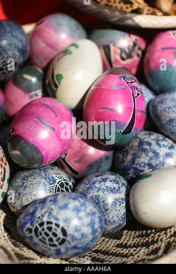 Florida, painted rocks, egg shaped, for sale, arts and crafts, - Stock Image