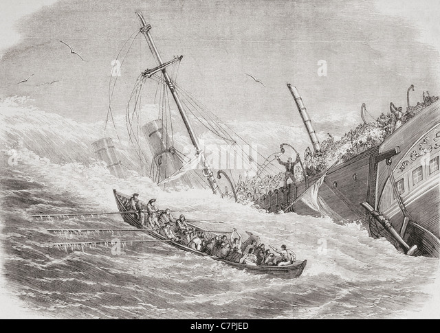 The sinking of The SS London during stormy weather in the Bay of Biscay in  1864. - Stock-Bilder