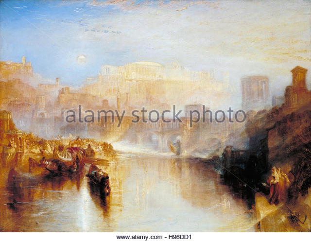Joseph Mallord William Turner - Ancient Rome; Agrippina Landing with the Ashes of Germanicus - Stock Image