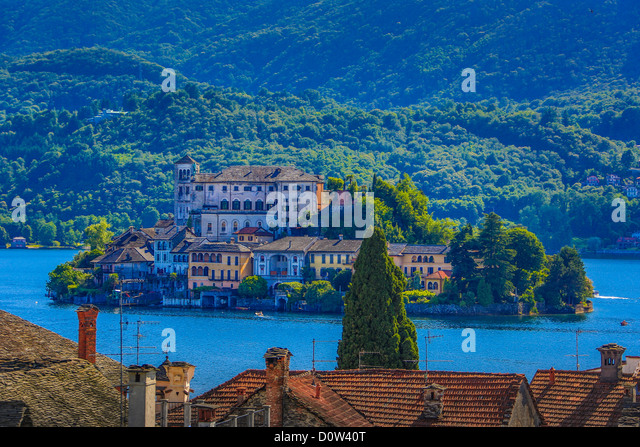 Italy, Europe, travel, Orta, Lake, San Gulio, Island, Piedmont, roofs, forest, tourism, town - Stock-Bilder